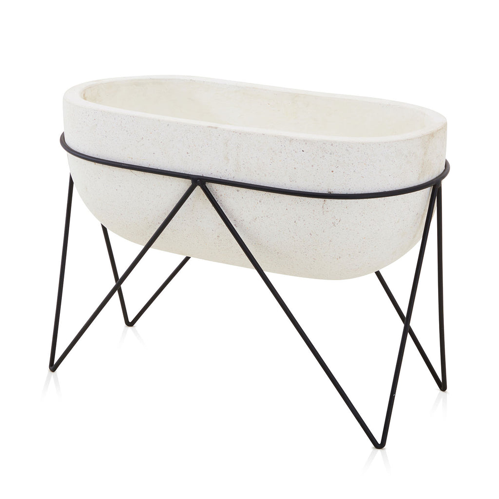 Wide White Planter with Black Wire Stand