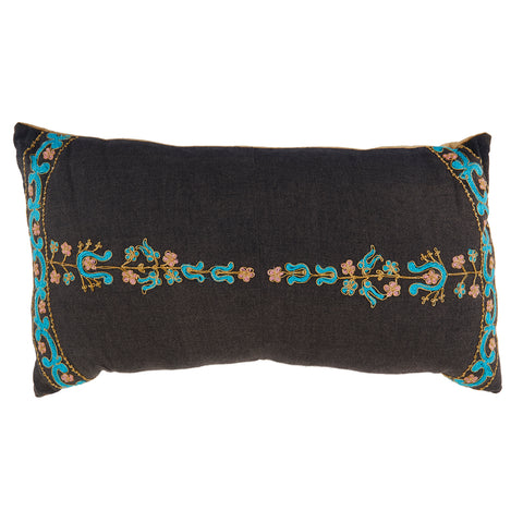 Black Floral Lumbar Pillow