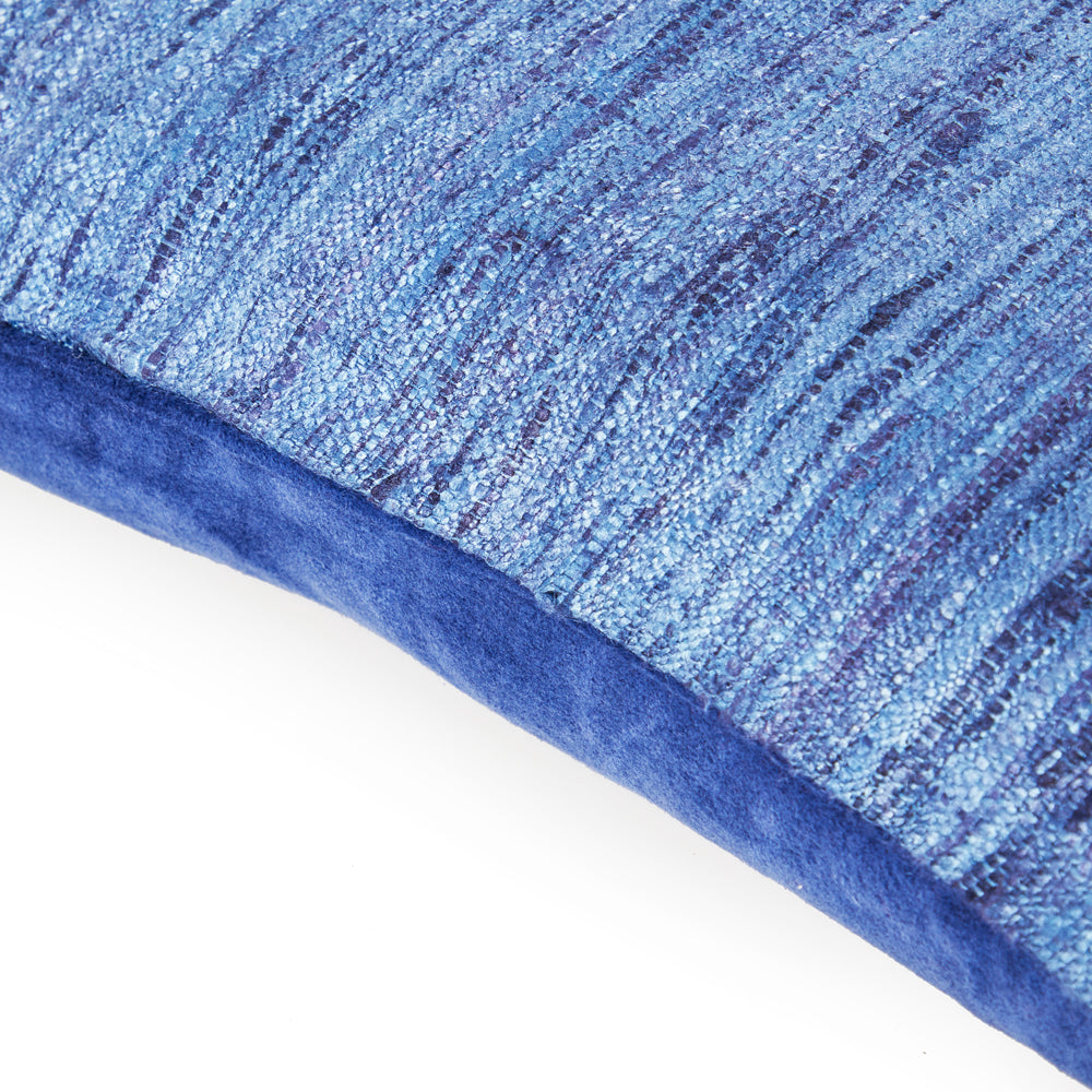 Frayed Weave Blue Pillow