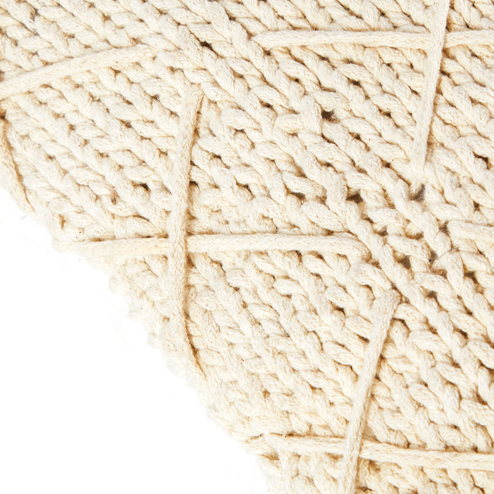 Cream Knit Braid Pillow