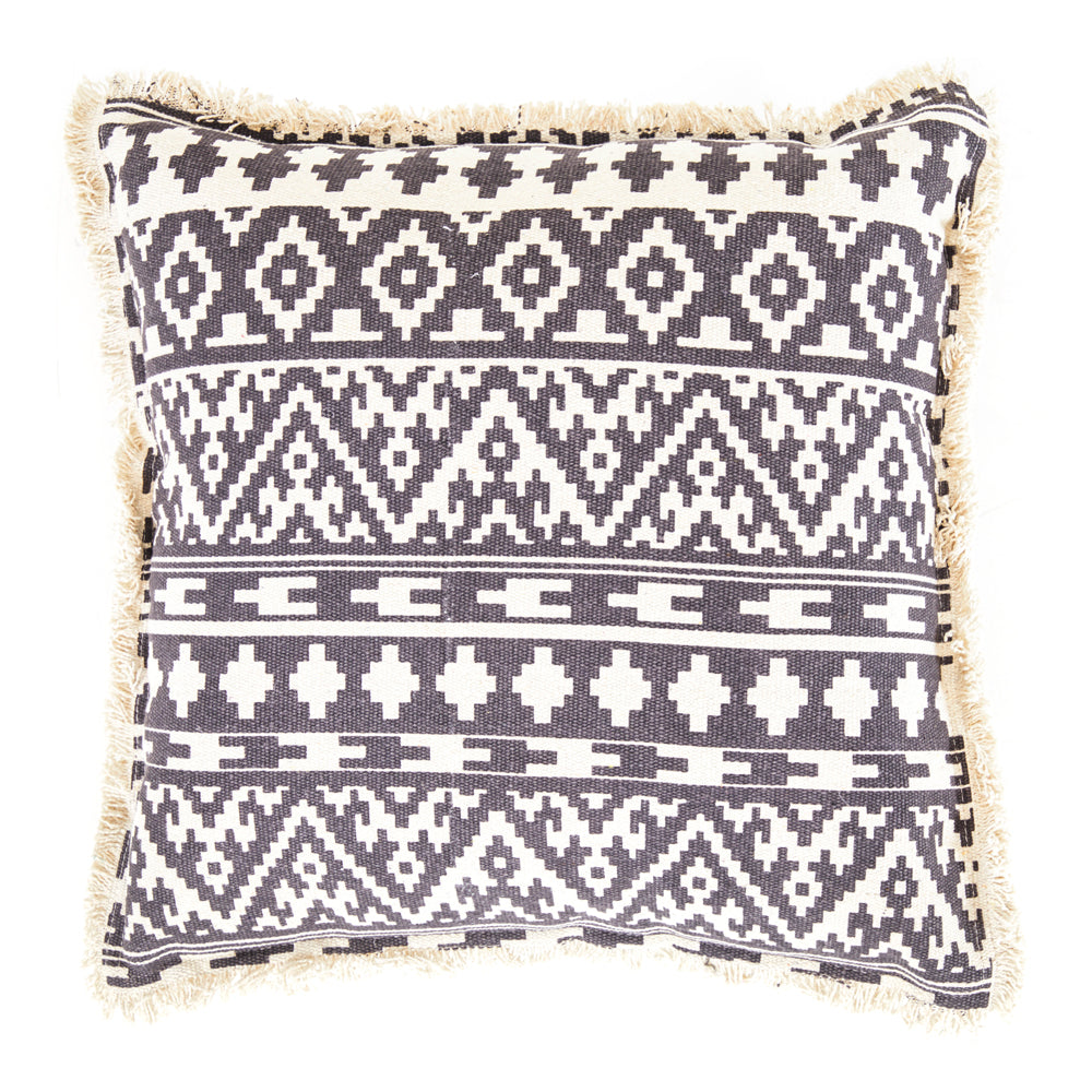 Grey & White Patterned Pillow