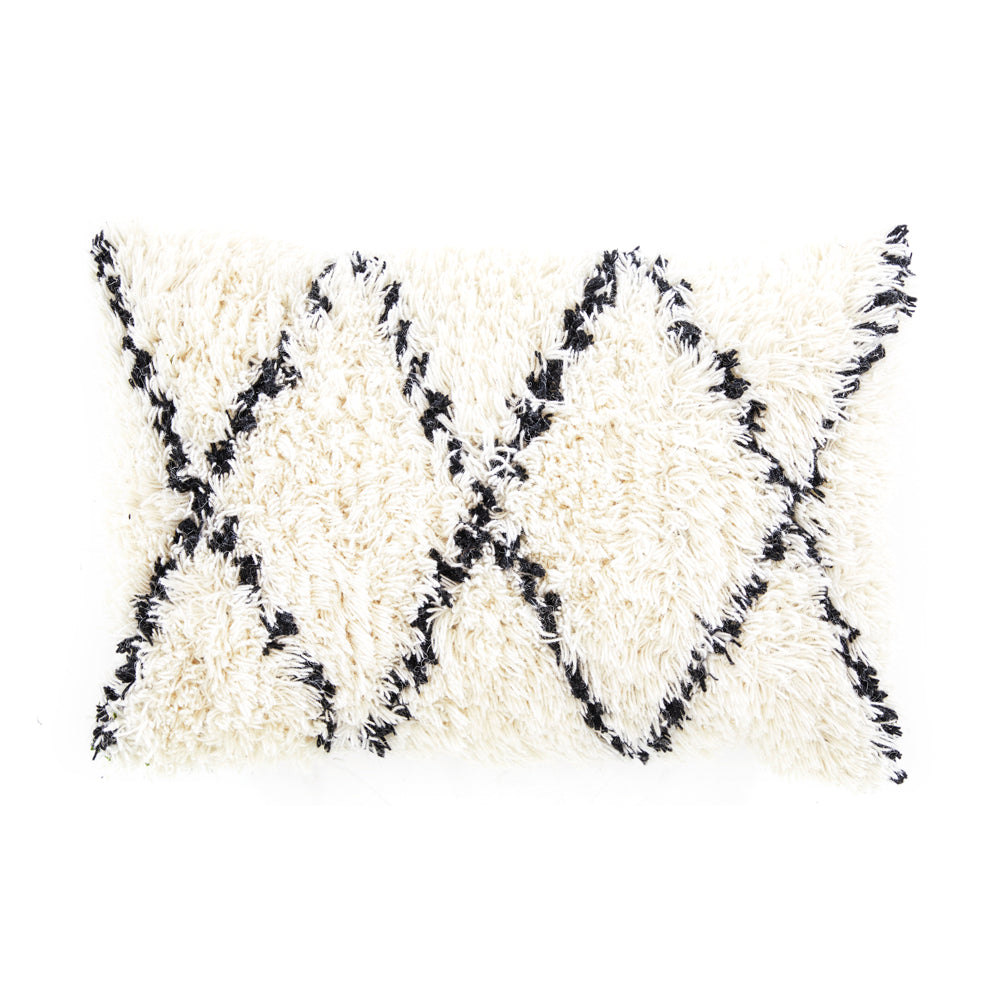 Cream + Black Moroccan Shag Pillow
