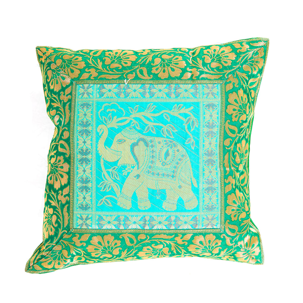Silk Sari Pillow - Turquoise + Green