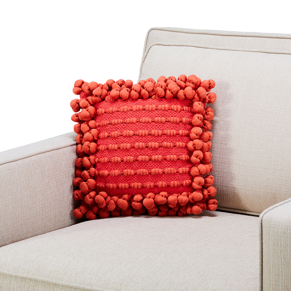 Red Knotted Tassel Pillow