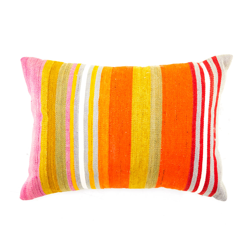 Sunset Color Stripes Stitch Pillow