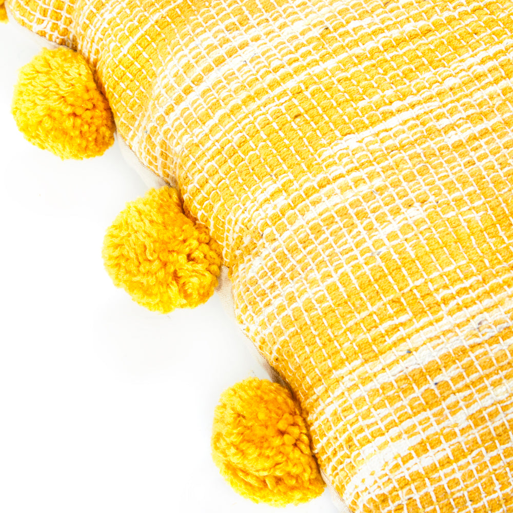 Yellow Woven Pom Pom Pillow
