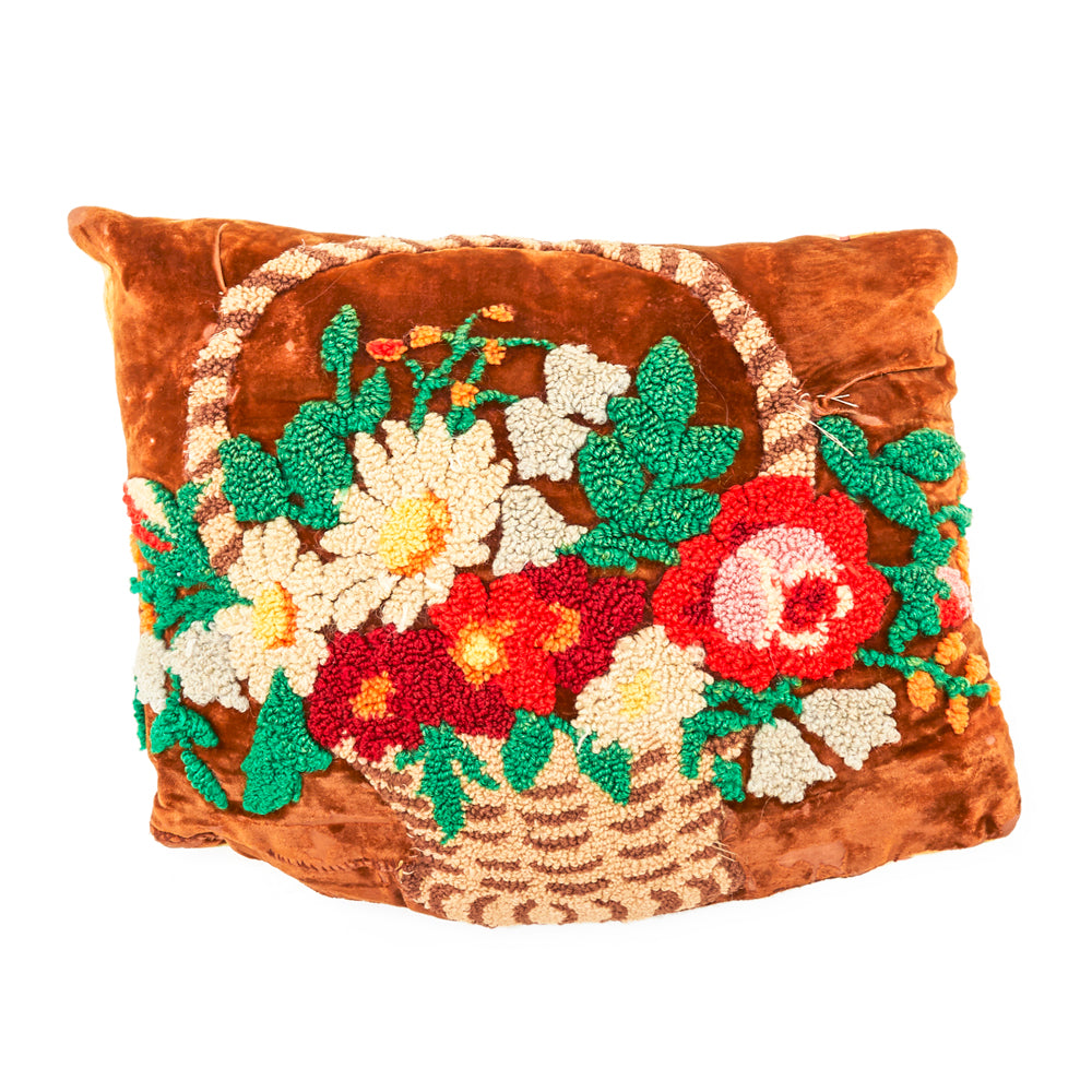 Brown Flower Basket Pillow