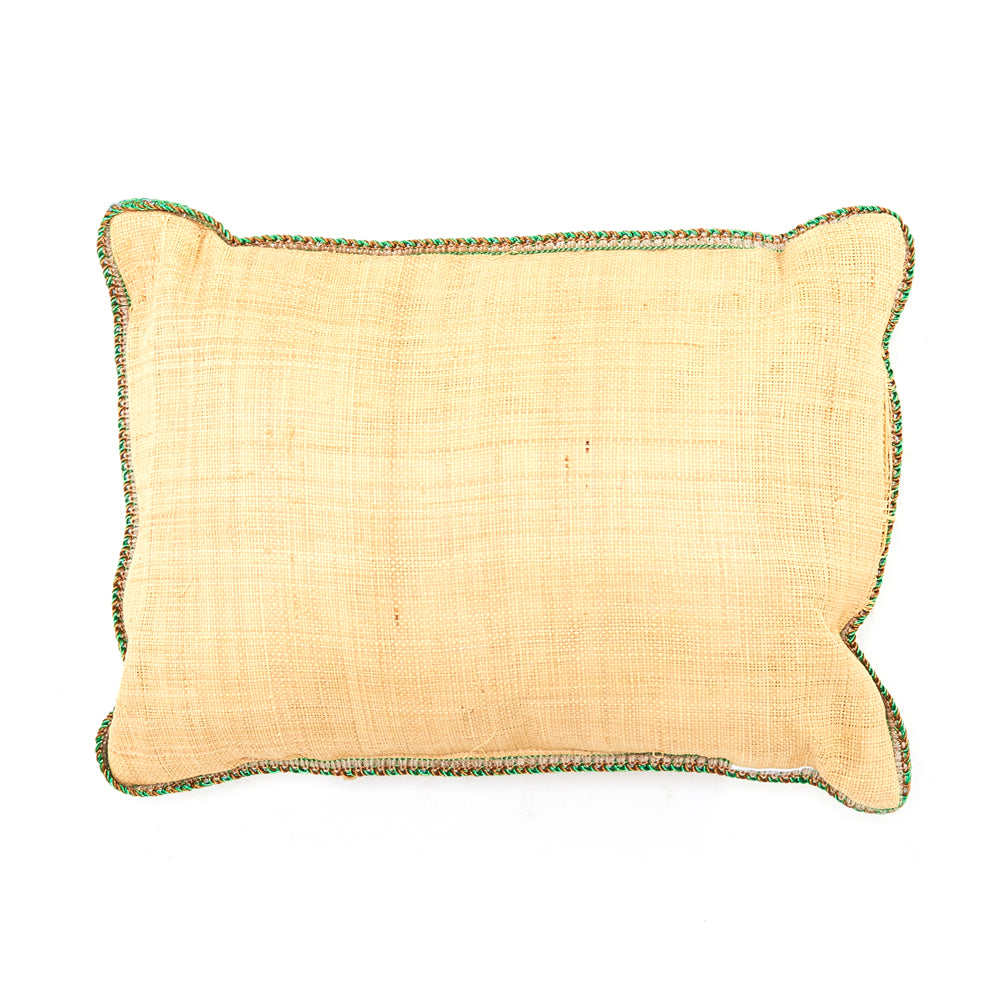 Cream Burlap / Braided Trim Pillow