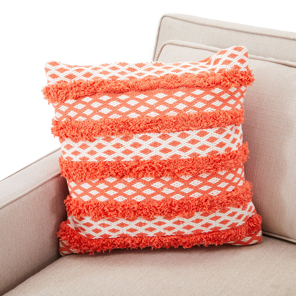 Coral Terrycloth Striped Pillow