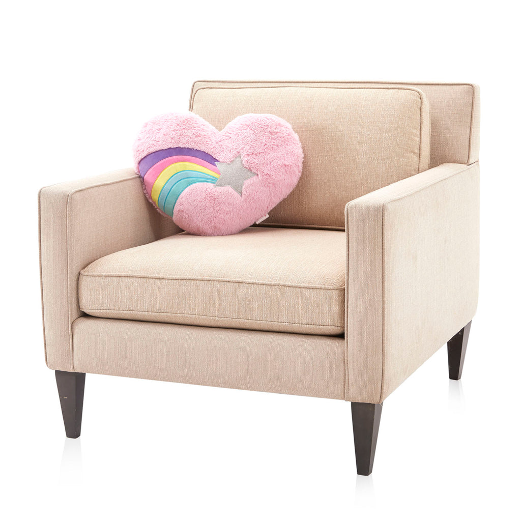 Pink Plush Shooting Star Heart Pillow