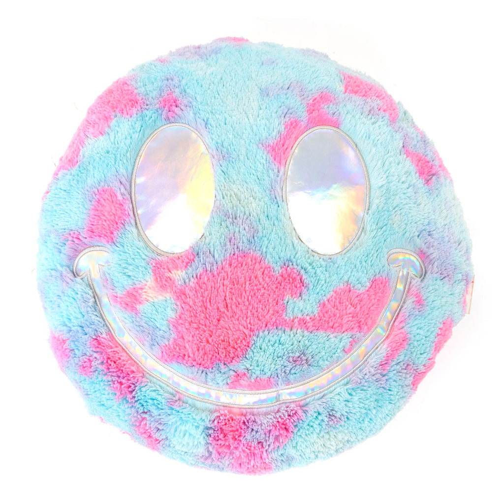 Plush Cotton Candy Smiley Face Pillow