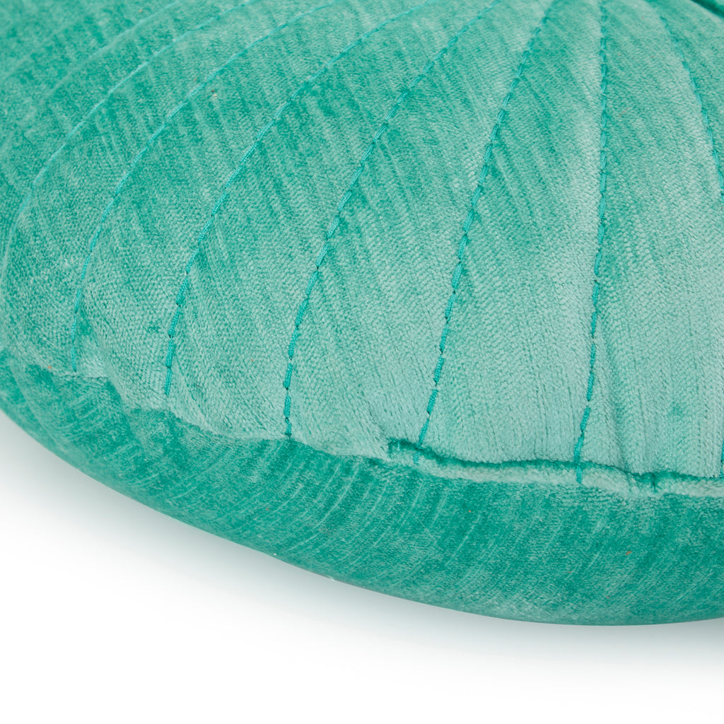 Aqua Velvet Seashell Round Pillow