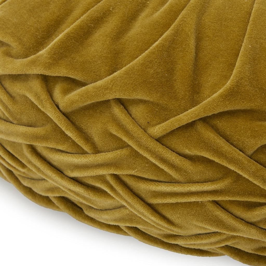 Avocado Green Pleated Velvet Round Pillow