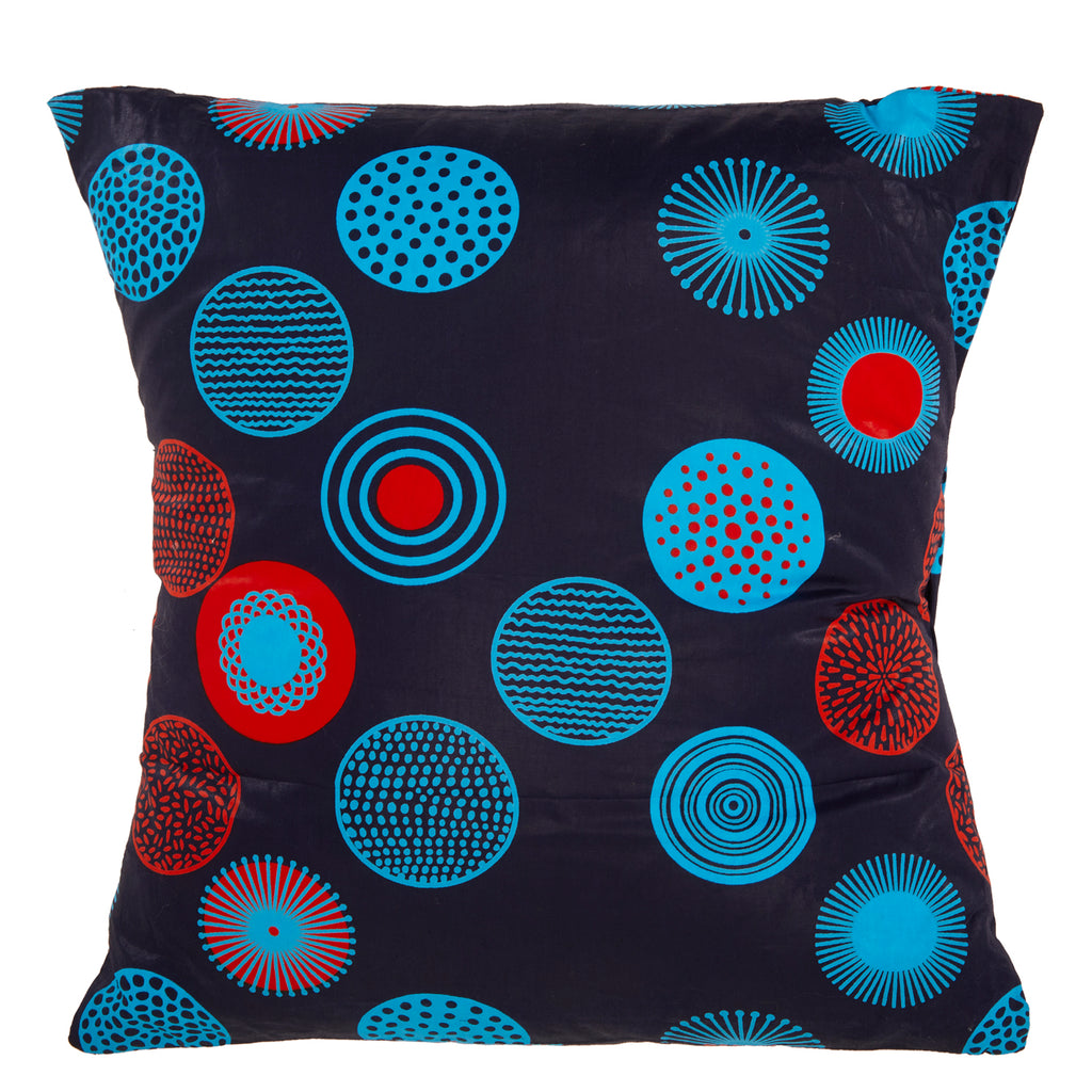 Navy and Red Circle Print Square Pillow