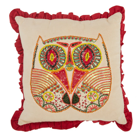 Beaded Owl Pillow - Tan and Red Ruffle