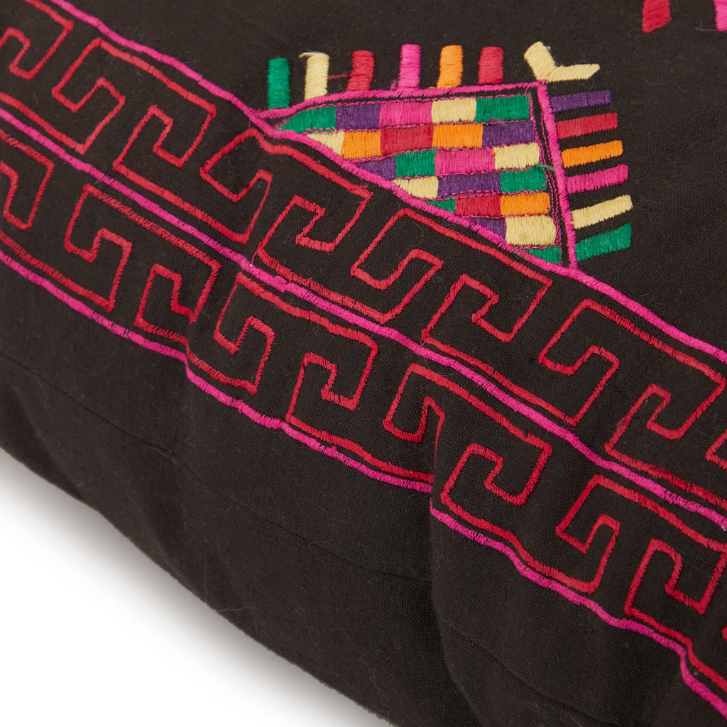 Black with Colorful Embroidered Pillow