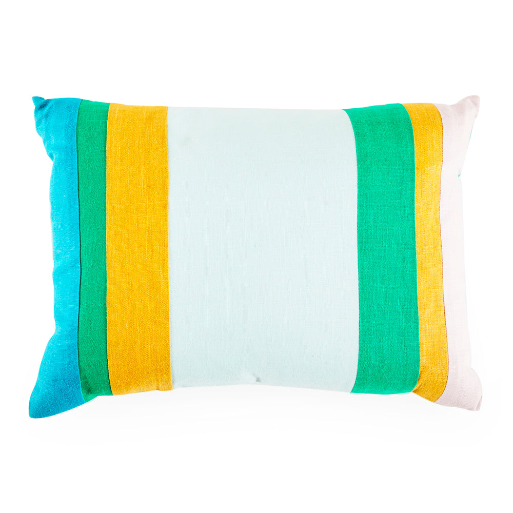 Blue Green Yellow Striped Pillow