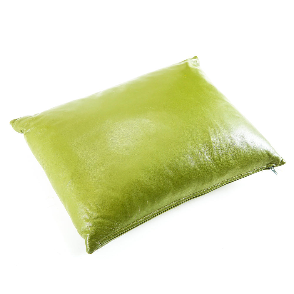 Green Leather Pillow