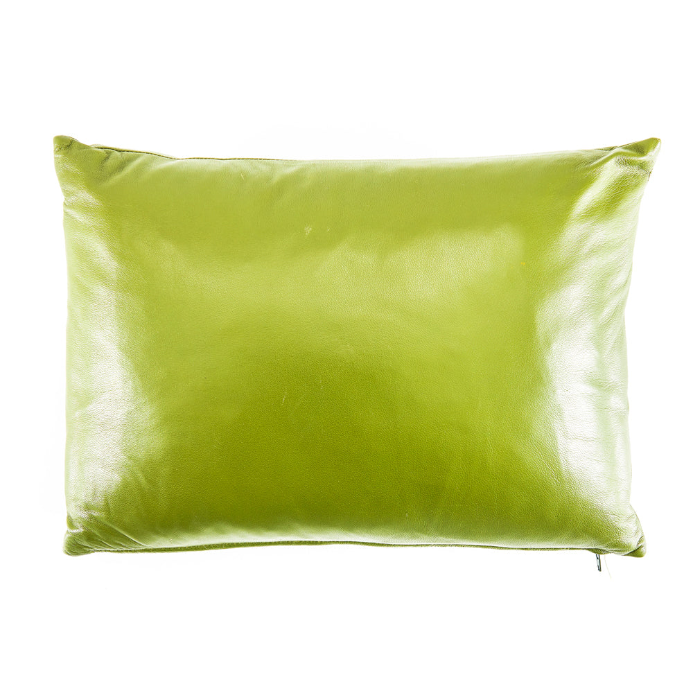 Lime Green Leather Pillow