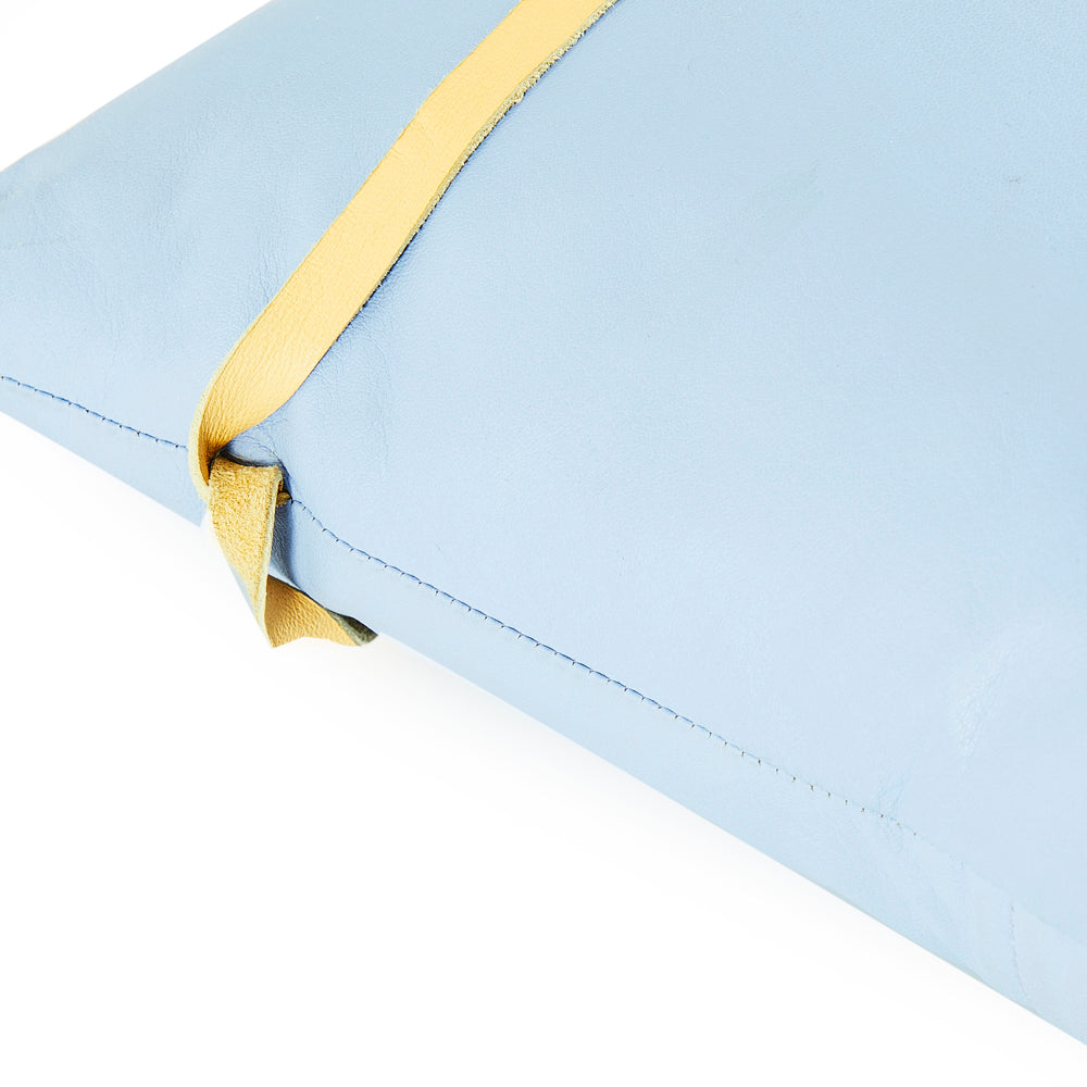 Blue Leather Pillow with Ribbon
