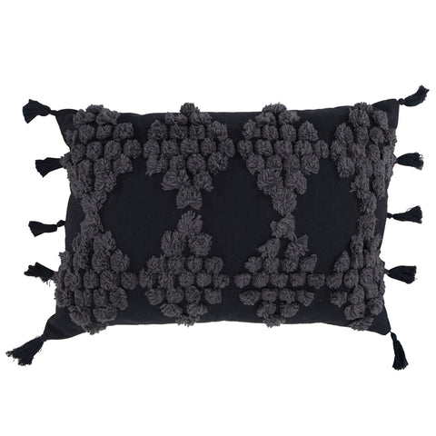 Black + Grey Pompom Lumbar Pillow