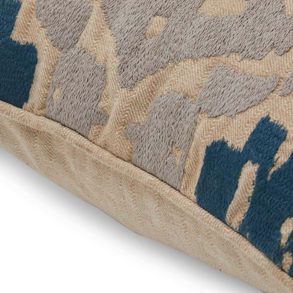 Blue and Grey Ikat Pattern Lumbar Pillow