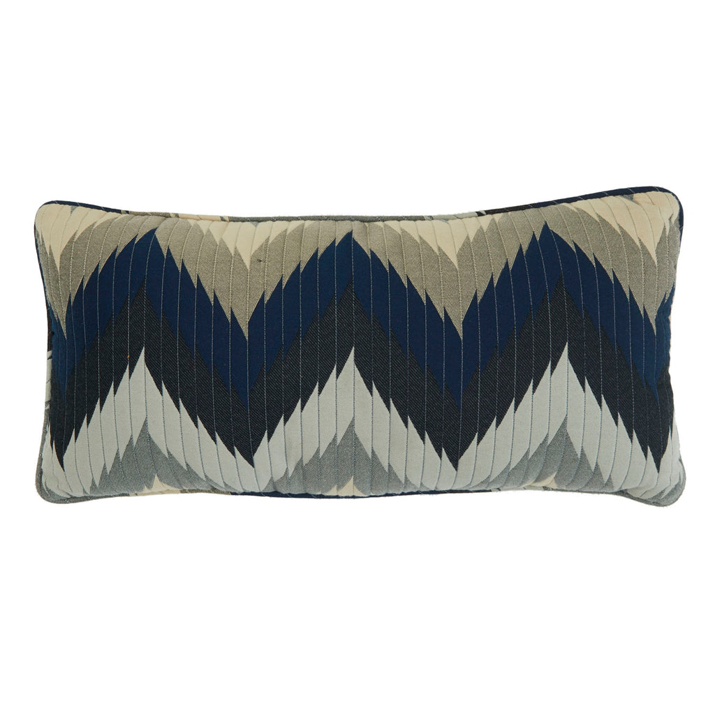Blue and Grey Zig-Zag Lumbar Pillow