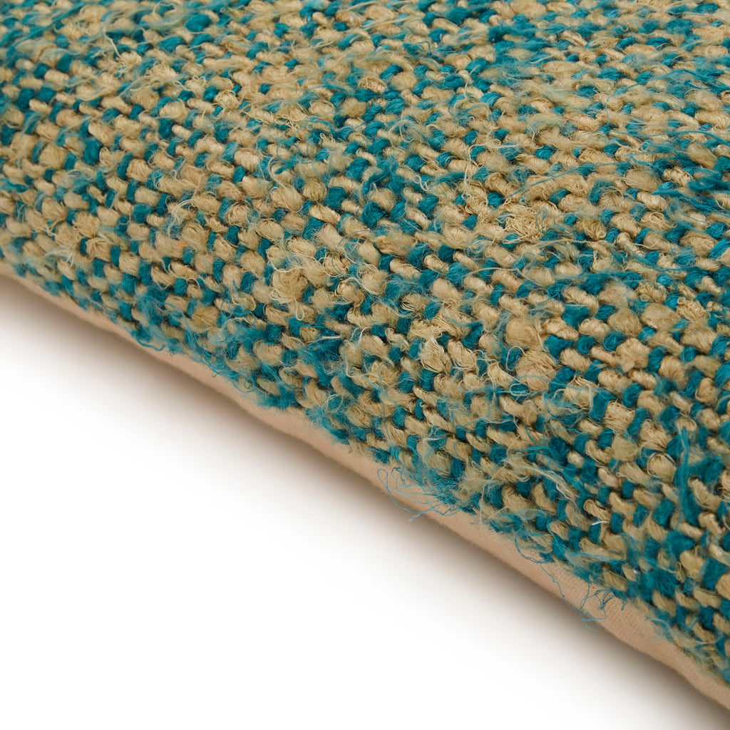 Blue + Tan Woven Burlap Pillow