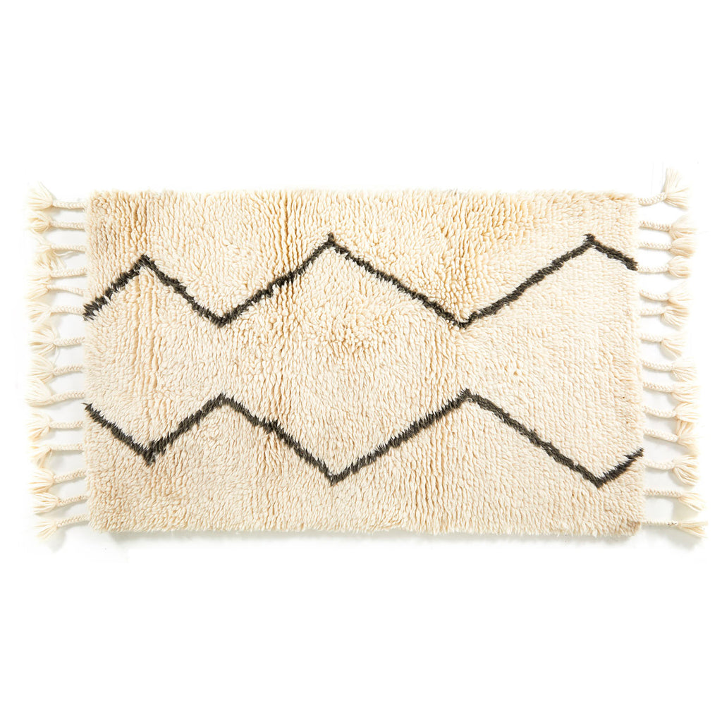 Beige ZigZag Small Rug with Tassels