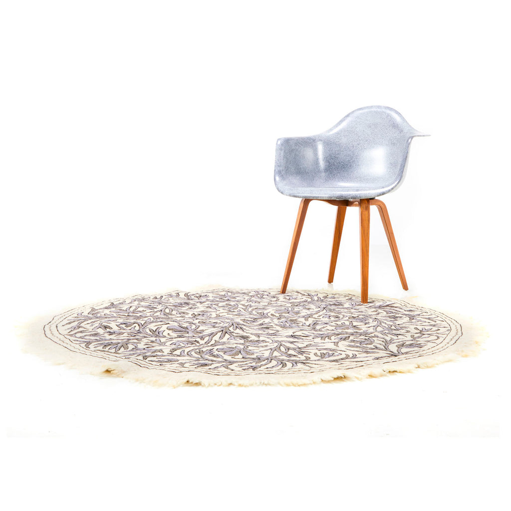 Round Cream and Grey Branch Rug