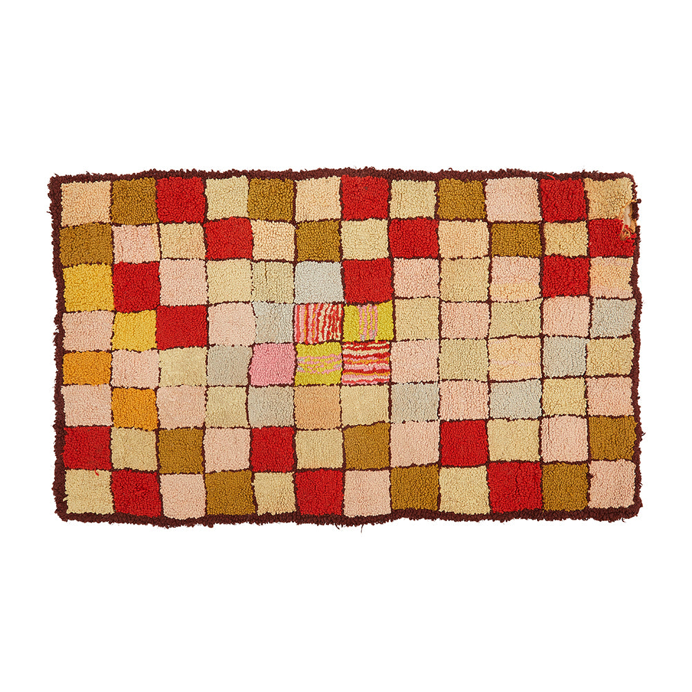 Vintage Multi-Colored Checkered Rug