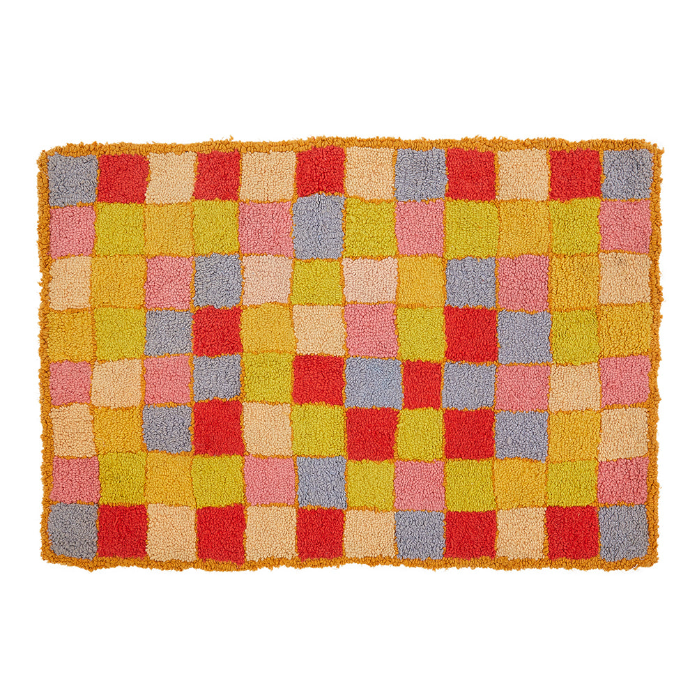 Bright Multi-Color Checkered Shag Rug