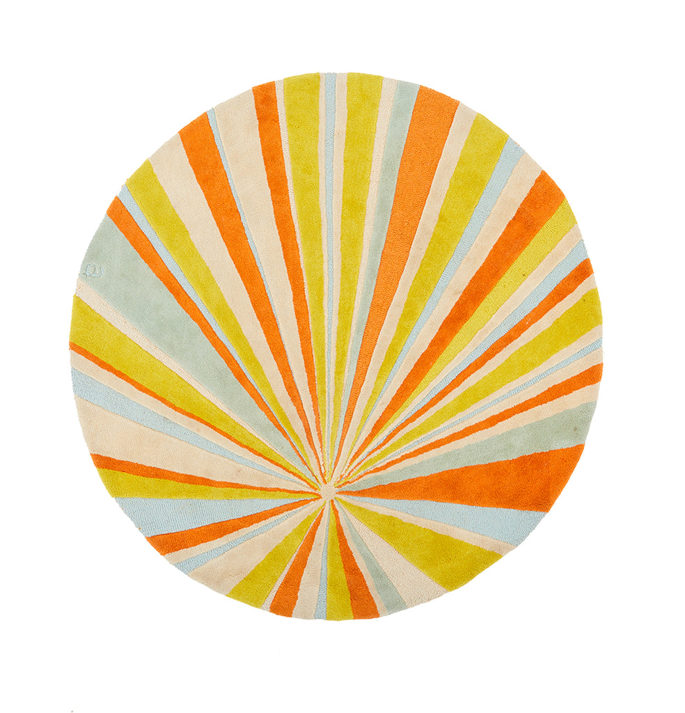 Yellow Orange Circular Sun Rug