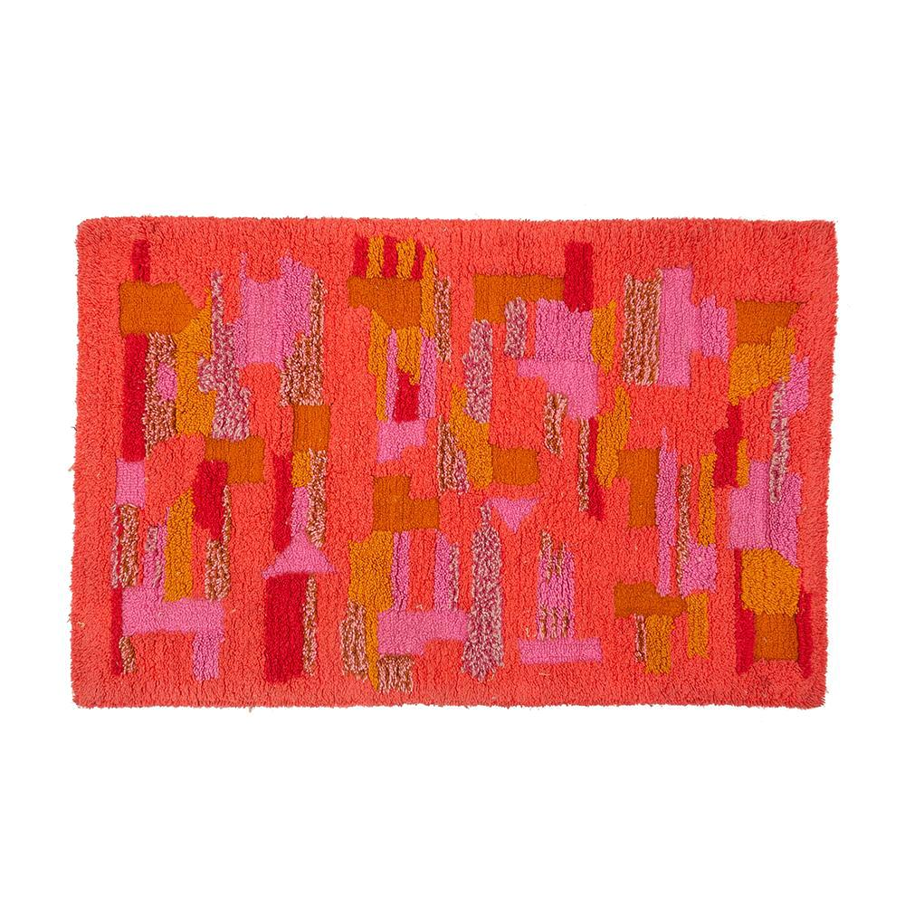 Red and Pink Shag Rug