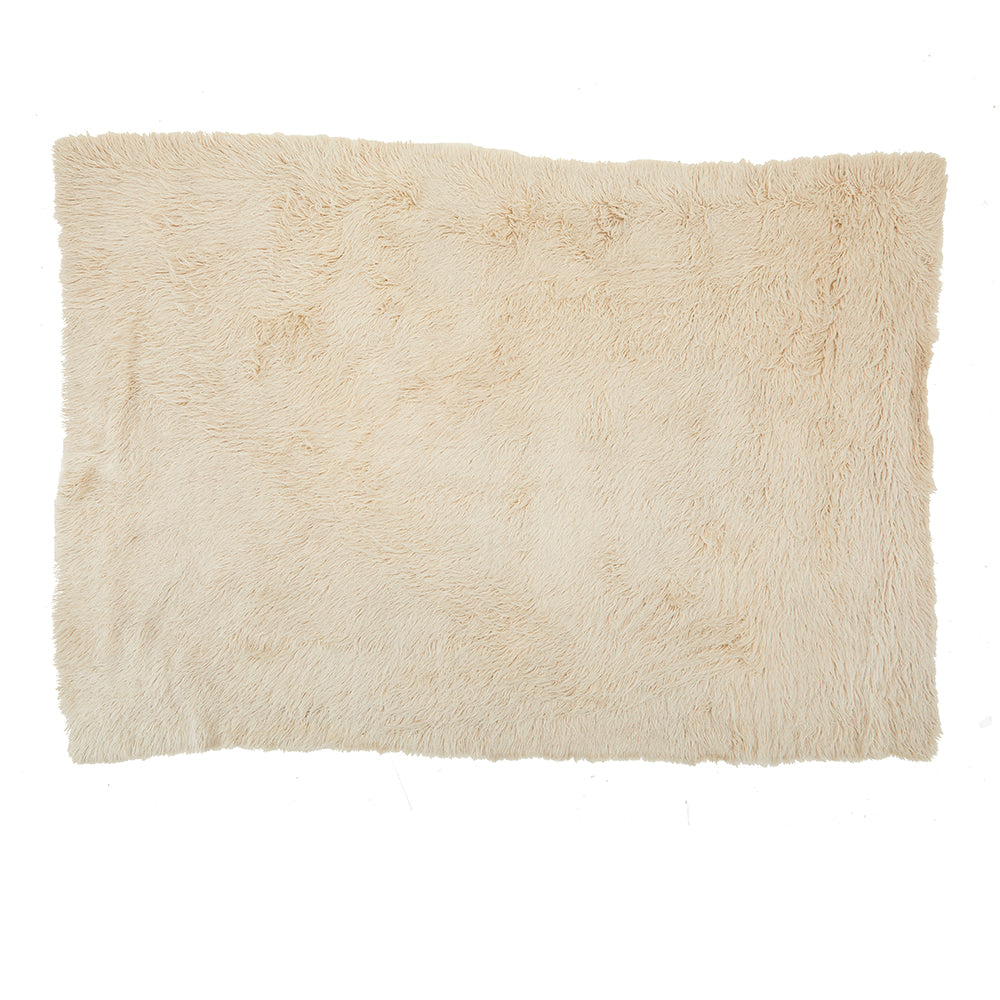 Cream Modern Shag Fur Rug