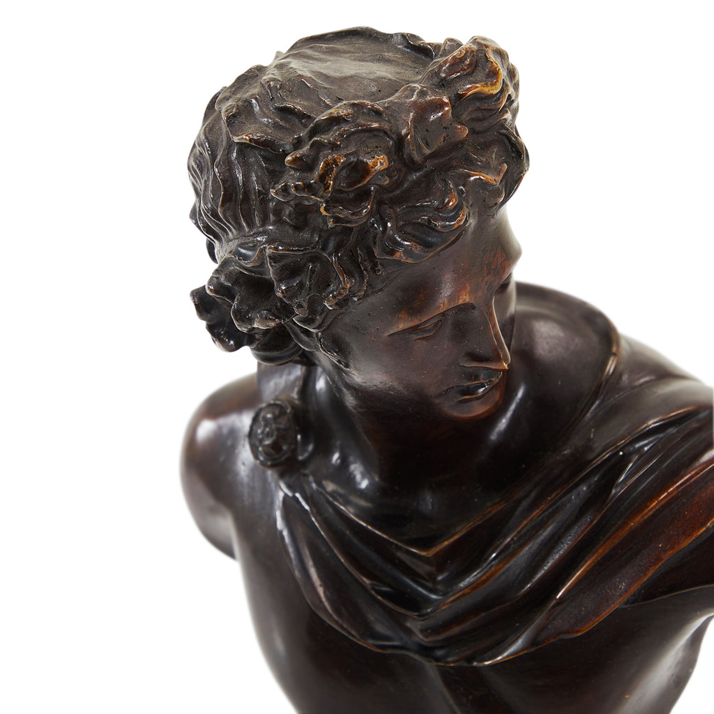 Brown Carved Grecian Apollo Bust