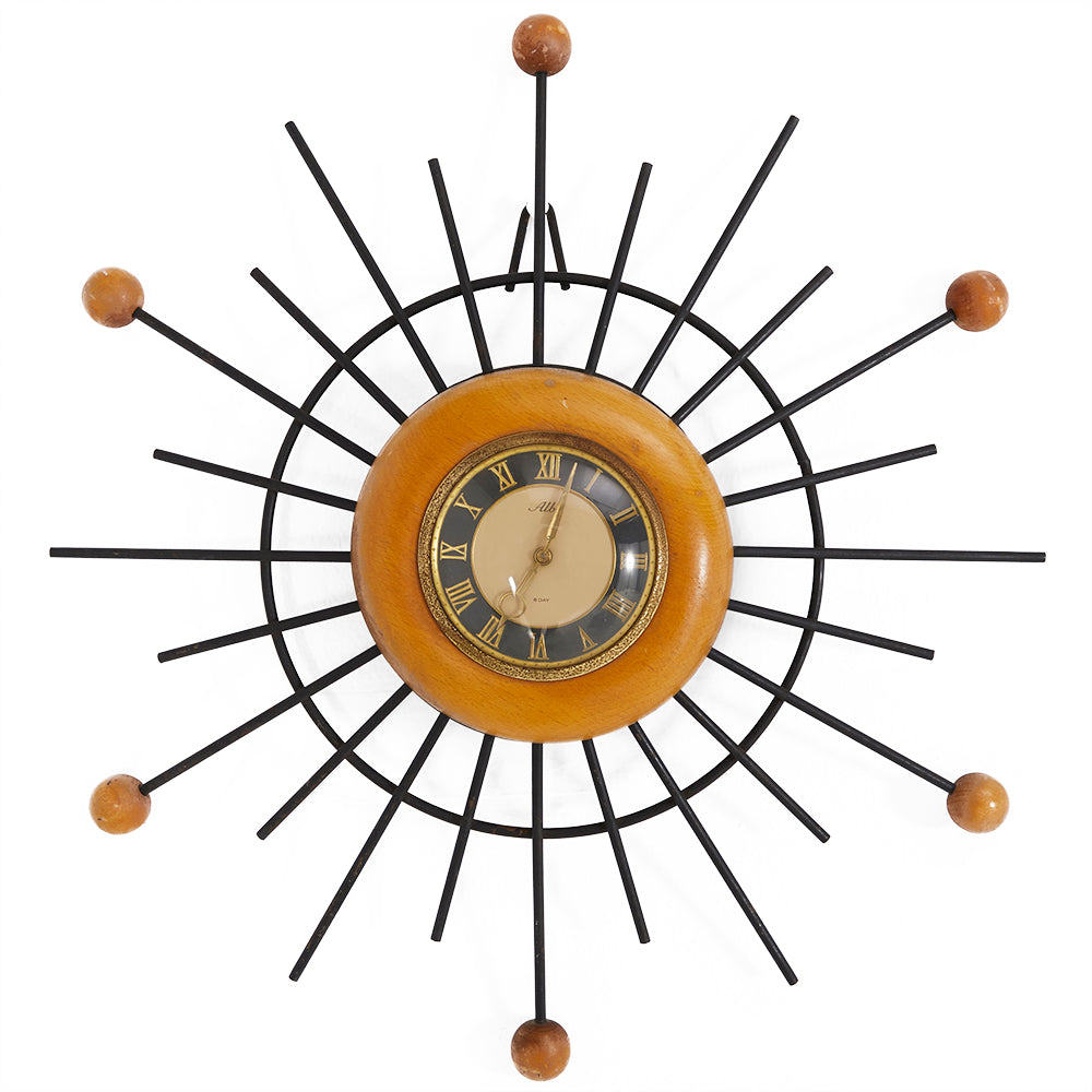 Alba Metal Sun Burst Star Clock