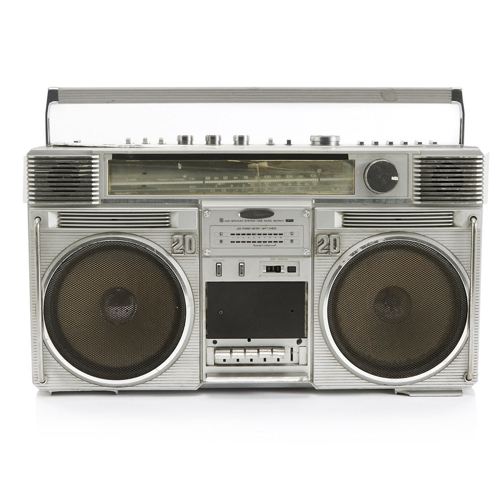 "Silver ""20-20"" Rising Boombox"