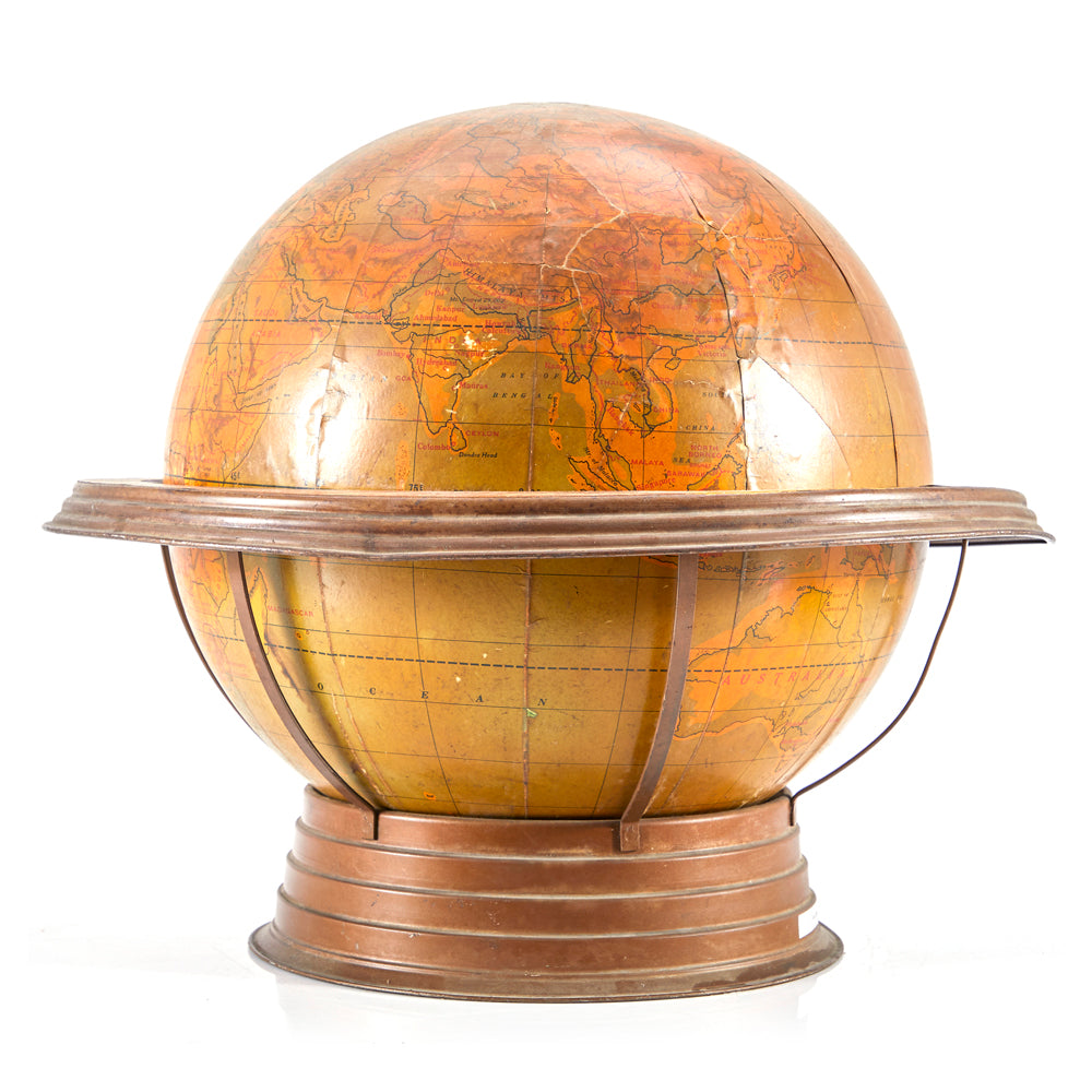 Tan Globe on Metal Round Stand