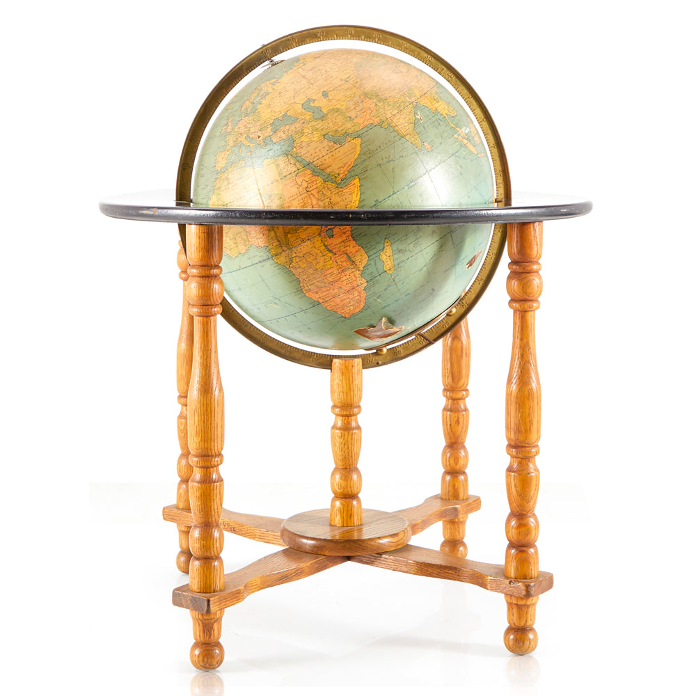 Aqua Globe on Wood Floor Stand