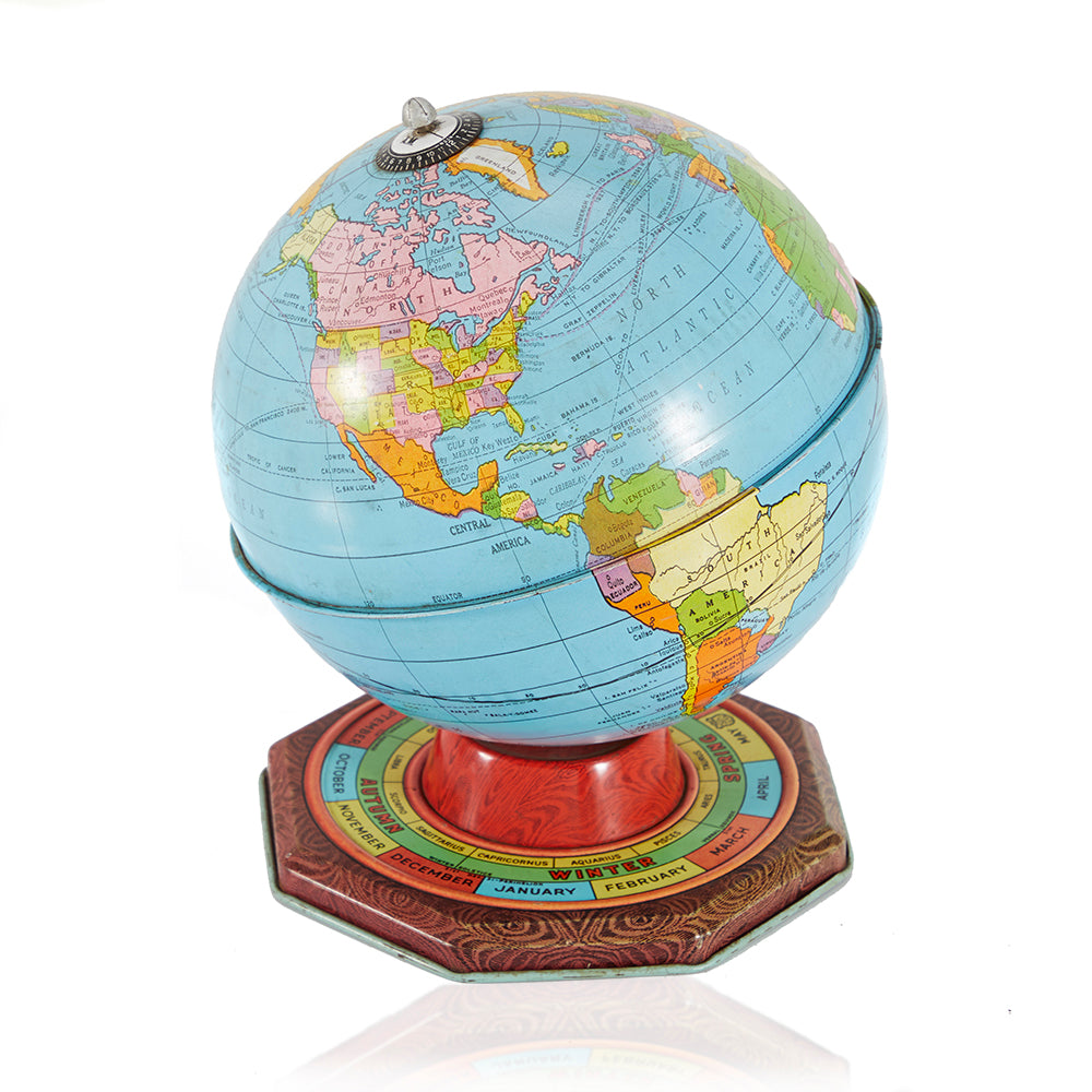 Blue and Red Globe with Calendar Base