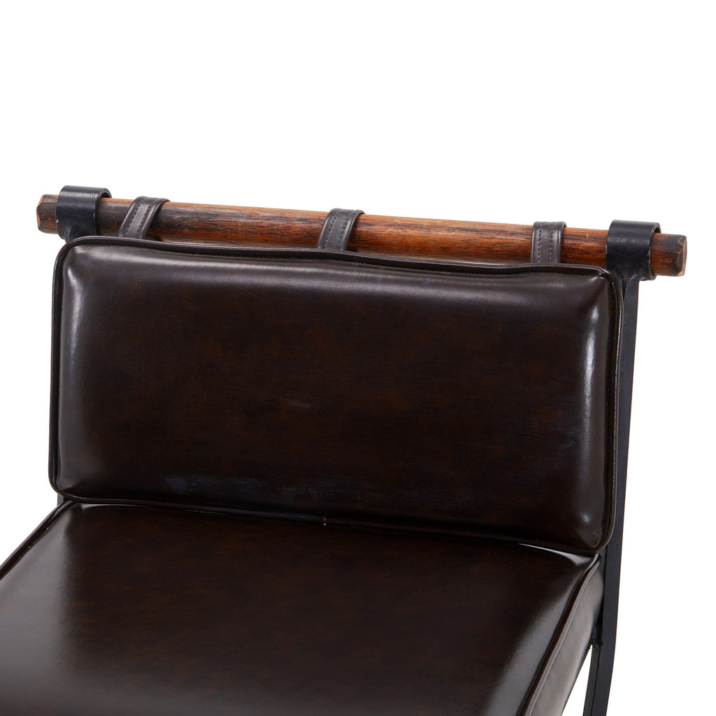 Black Leather Rustic Bar Stool