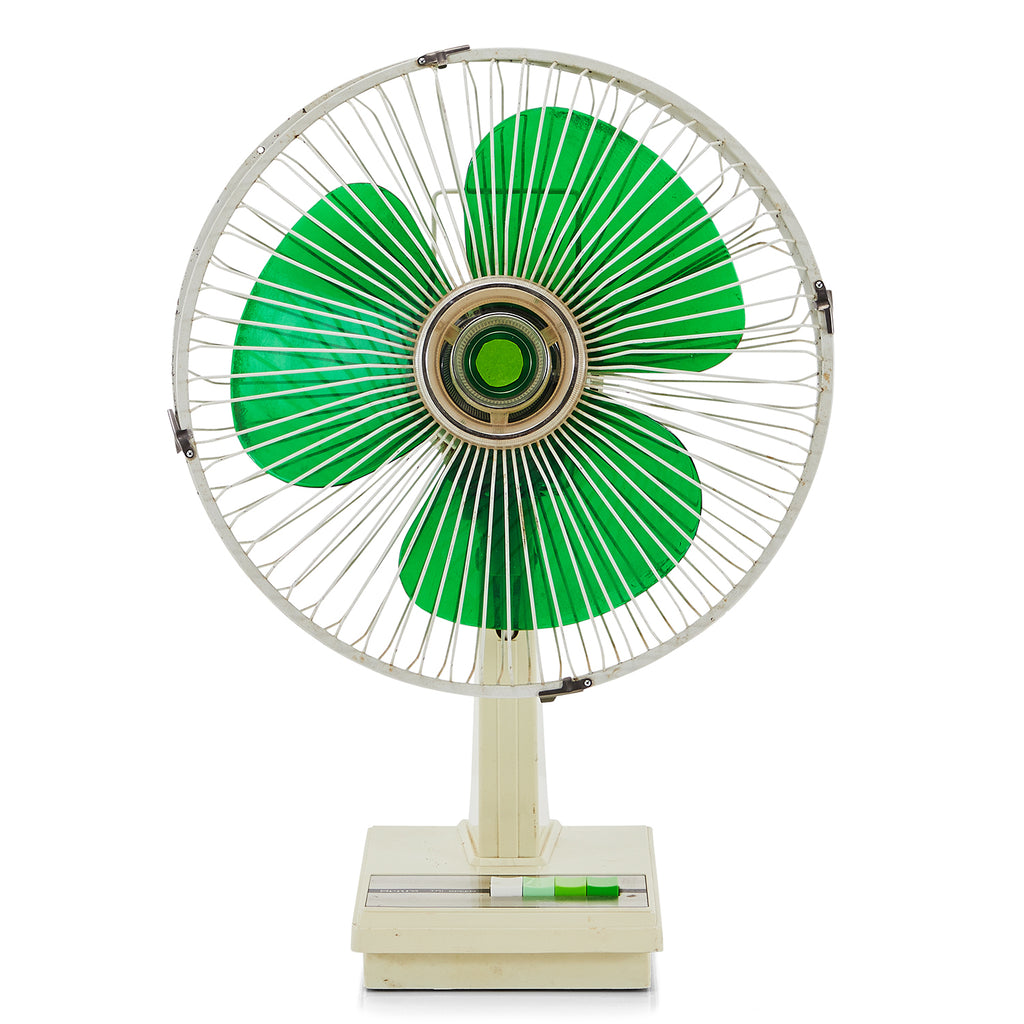 Green and White Table Top Fan