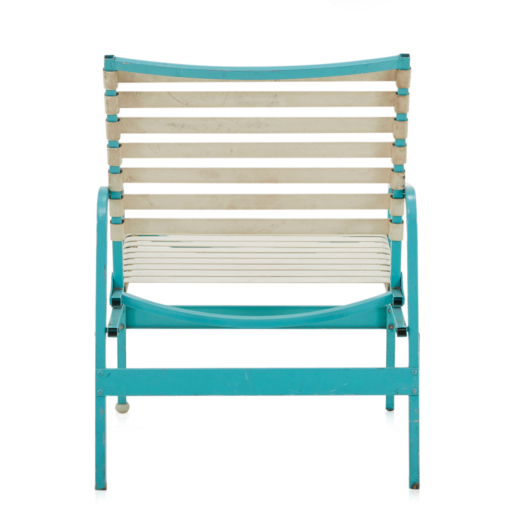 Aqua + White Patio Lounge Chair