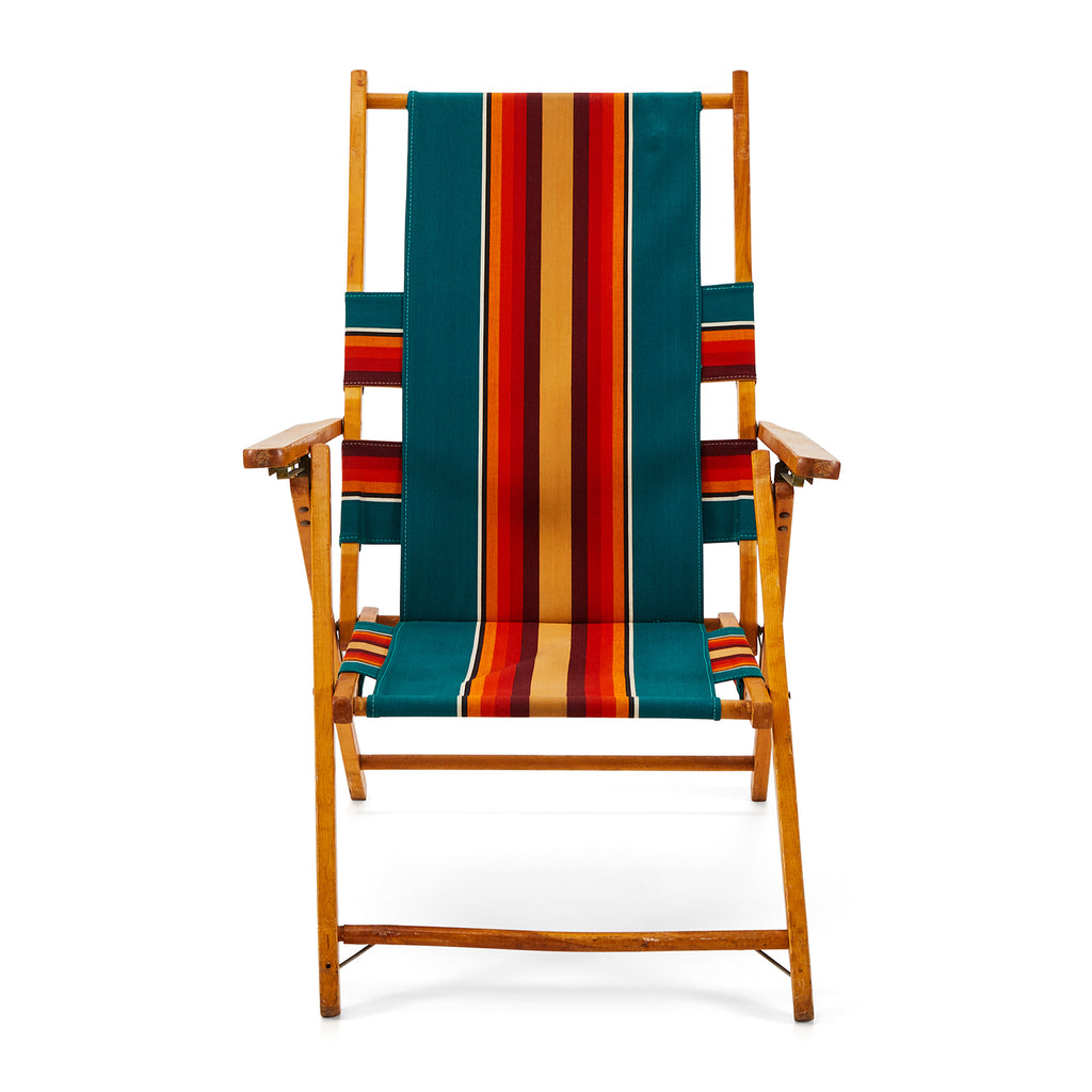 Striped Canvas Folding Beach Chair
