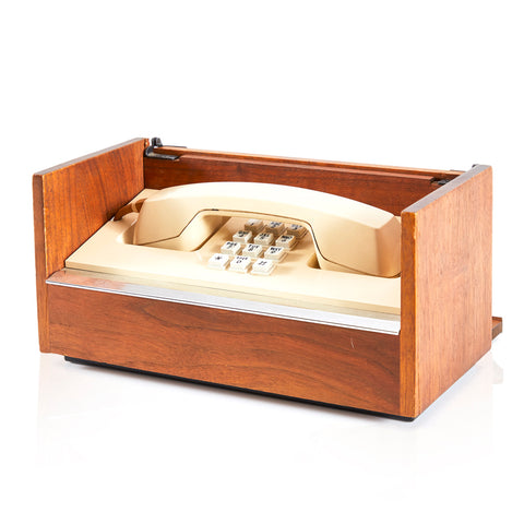 Beige Phone in Wood Case - Touchtone