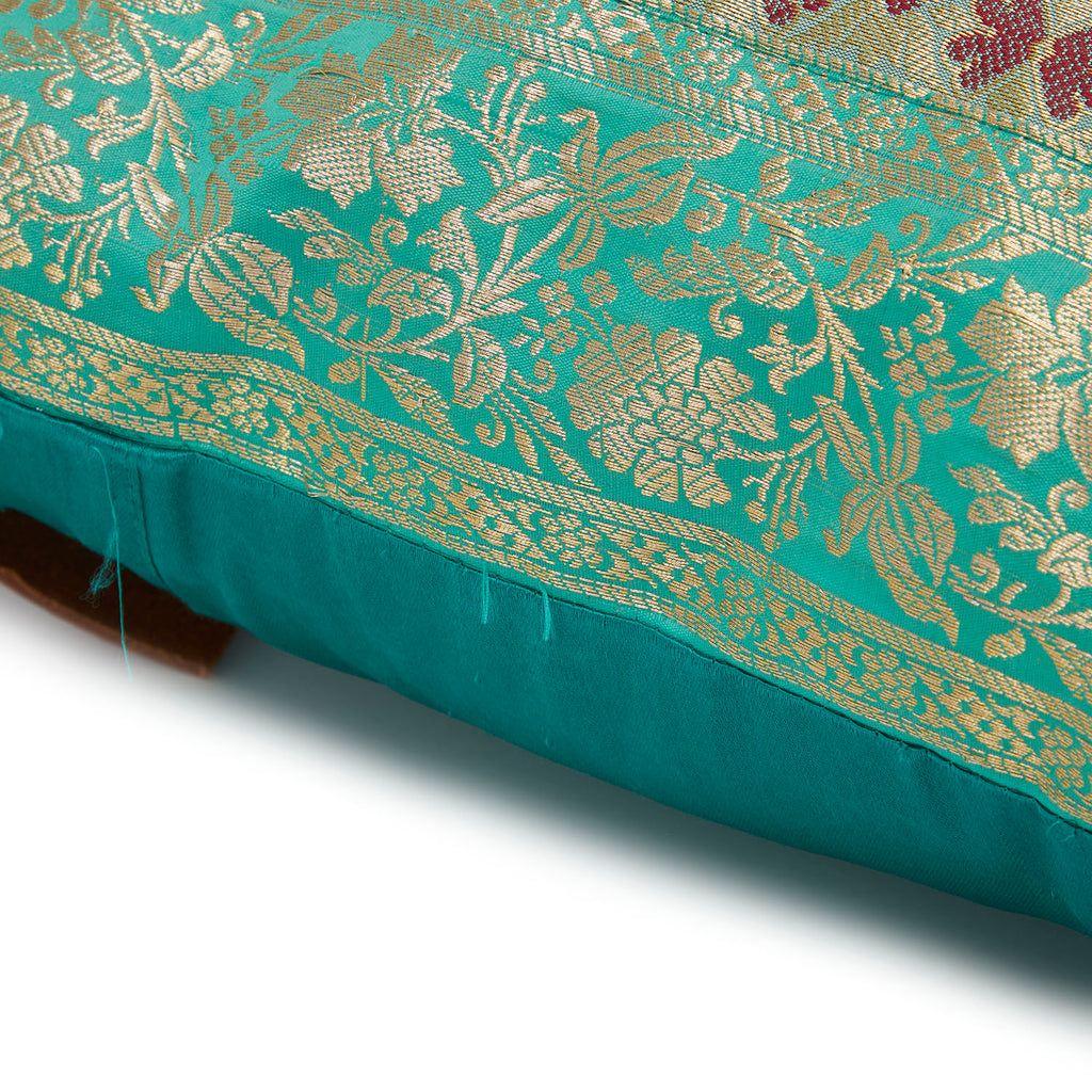 Silk Sari Pillow - Mint + Brown
