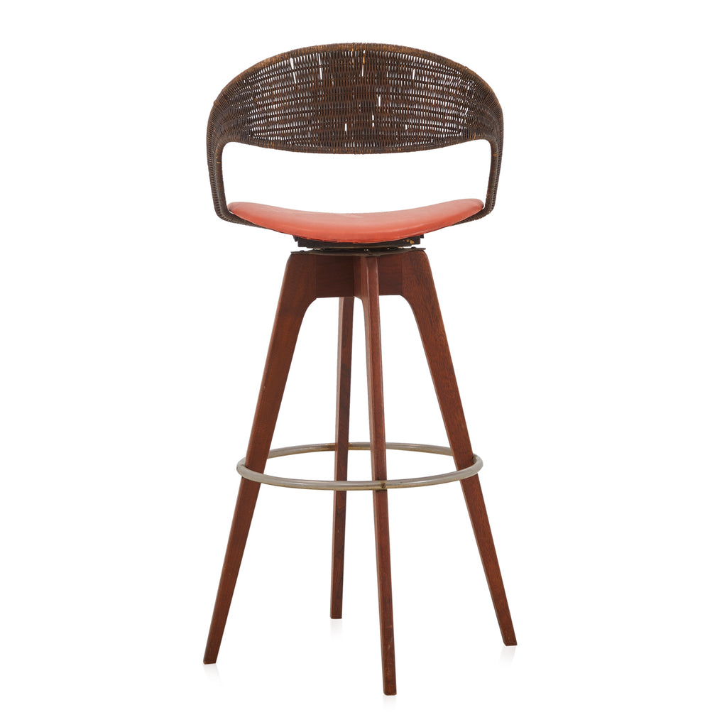 Wicker Open Back Barstool
