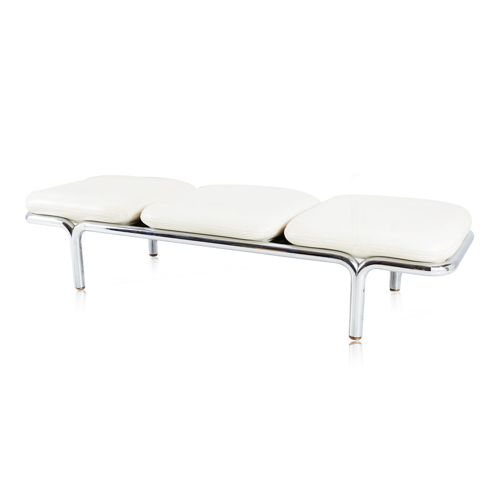White Chiclet 3 Seater Bench
