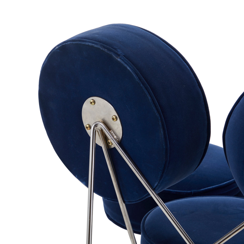 Blue Velvet Marshmallow Chair